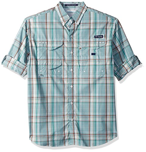 Columbia Mens Super Bonehead Classic Long Sleeve Shirt, Teal Plaid, X-Large