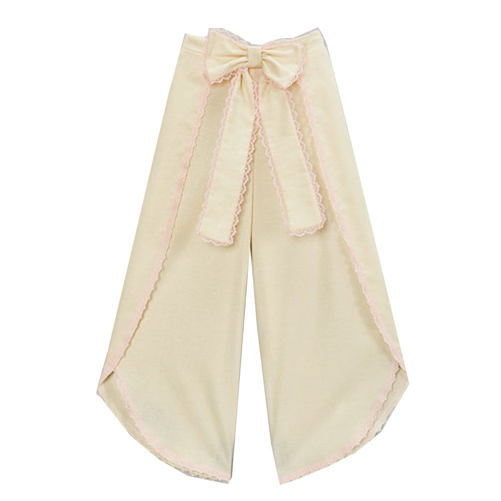 Little Girls Ivory Pink Scalloped Trim Bow Accent Wide Leg Pants 6
