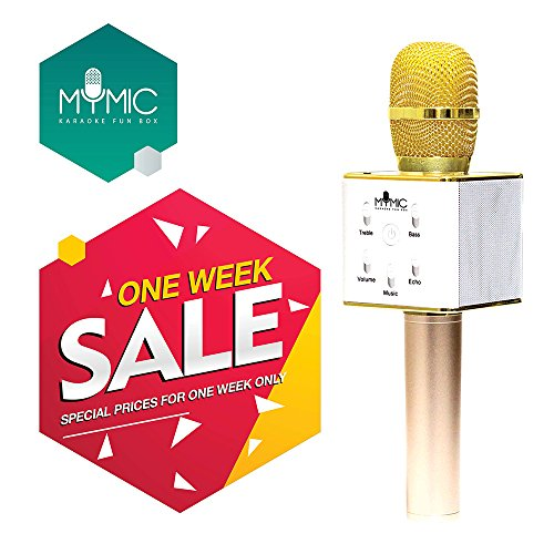 My Mic Wireless Portable Karaoke Microphone Machine, Easter Gift, Home KTV Karaoke System With Bluetooth Speaker for iPhone/iPad/Android/IOS/Smartphone Devices For Kids (Gold)