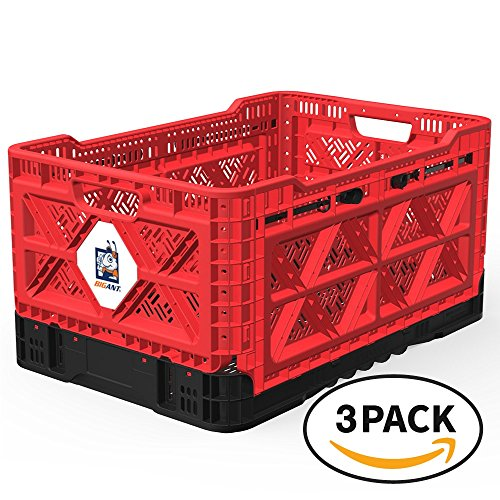 BIGANT Heavy Duty Collapsible & Stackable Plastic Milk Crate - IP543630, 12.7 Gallons, Medium Size, Red, Set of 3, Snap Lock Foldable Industrial Garage Storage Bin Container Utility Tote Basket by BIGANT