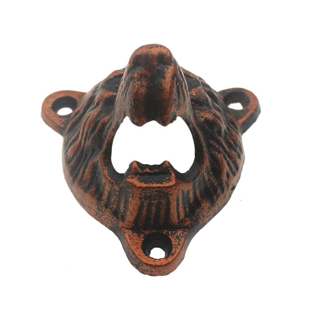 antique copper Cast Iron Wall Mount Grizzly Bear Teeth Bite Bottle Opener and Beer Cap Catcher