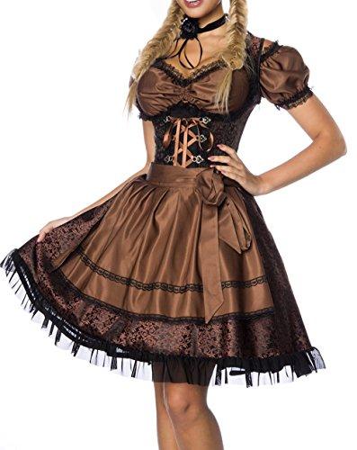 Dirndl Kleid Kostüm mit Bluse und Schürze aus Jacquard Stoff und Spitze Oktoberfest Dirndl braun/schwarz XXXL