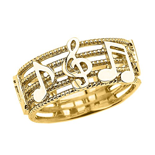 Solid 14k Yellow Gold Treble Clef with Musical Notes Band Ring 8.5 MM(Size - Clef Treble Gold 14k Note