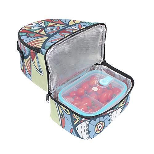 coloré Pincnic Cooler pour avec bandoulière lunch isotherme vintage Sac Folpply réglable à Boîte l'école ethnique à Imprimé Tote 4ZPqzt