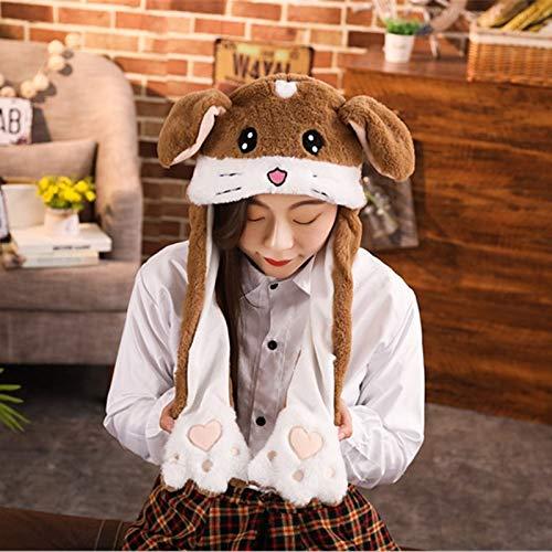 UBILILI Unicorn Plush Hat - Cuddly Moving Ear Plush Unicorn Hat Soft Hamster Hat Dance Plush Toy for Gift - Brown Hamster - Beanie Hard Flipeez Crazy White Pink Womens -