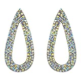 363-CLEAR AB Fashion Party & Wedding Jewelry Tear Drop Dangle Chandelier Alloy Rhinestone Earrings