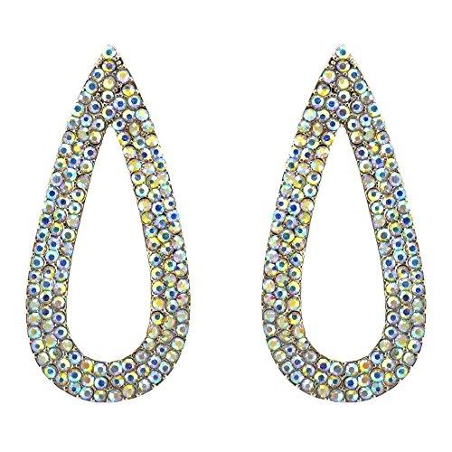 363-CLEAR AB Fashion Party & Wedding Jewelry Tear Drop Dangle Chandelier Alloy Rhinestone Earrings by Maxland