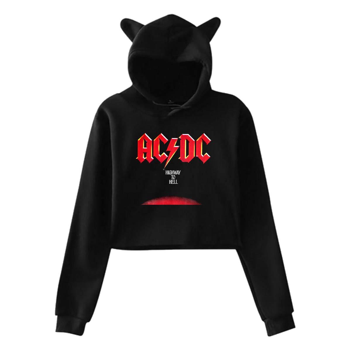 Hedamn Cute Cat Ear Ac Dc Highway to Hell Women Girl Hoodies Long Sleeve Printed Pullover Sweatshirt