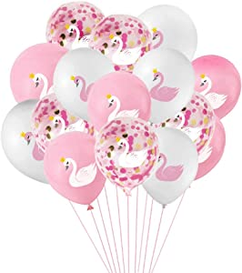 Swan Princess Balloons,15 Pcs Pink and White Latex Balloons Swan Soiree Confetti Balloons for Wedding Birthday Girl Baby Shower Party Decoration