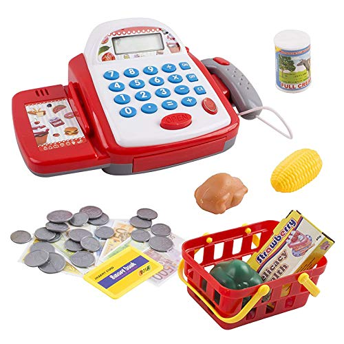 Vokodo Toy Cash Register With Functional Calculator Grocery Store Items Shopping Basket Scanner And Pretend Play Money Kids Supermarket Cashier Bank Great Gift For Preschool Children Boy Girl Toddlers