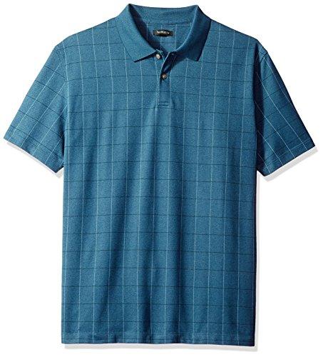 Van Heusen Men's Short Sleeve Printed Windowpane Polo Shirt, Turquoise Low Tide, Small