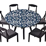 """The Round Table Cloth Ornamental Lace Crochet Flowers with Round Patters Bohemian Victorian Sty for Birthday Party, Graduation Party 35.5""""-40"""" Round (Elastic Edge)"""