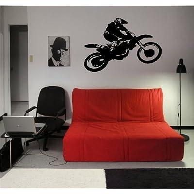 Motocross Dirt Bike Wall Decal Sticker Boys Room Nursery Idea Kid Decor Wall Decal Art Vinyl Sticker m563: Home & Kitchen