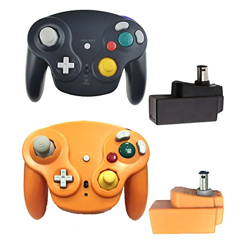 Bowink Classic 2.4G Wireless Controllers Gamepad with Receiver Adapter for Wii U Gamecube NGC GC (black and orange) (Gc Adapter U Wii)