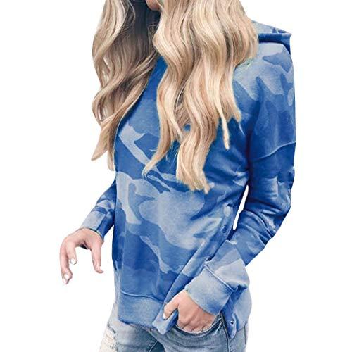 COPPEN Women Blouse Long Sleeve Hooded Fashion Camouflage Print Sweatshirt Tops