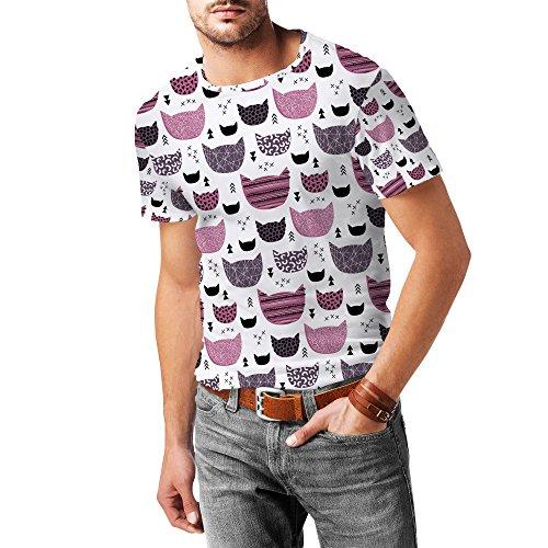 Inky Texture Cats Mens Cotton Blend T-Shirt Herren