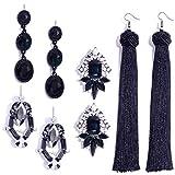Othink Black Tassel Drop Earrings for Women
