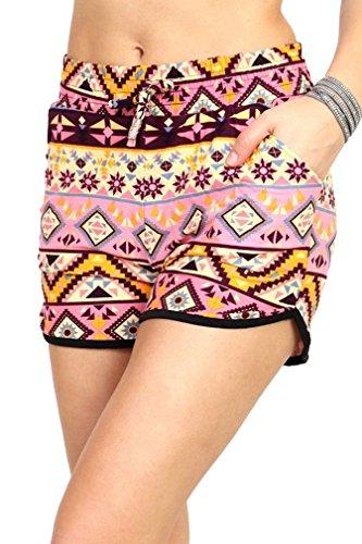 Premium Ultra Soft Drawstring Dolphin Shorts - Pockets - 30 Summer Prints by Conceited (Small / Medium, Pink Brown (Aztec Printed Shorts)