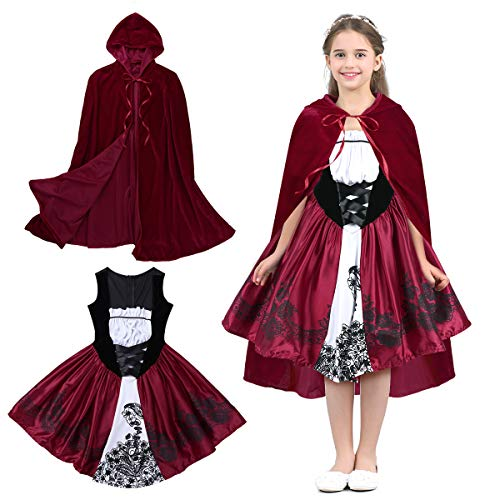 iEFiEL Kids Girls Little Red Riding Hood Costume Birthday Halloween Cosplay Fancy Party Dress Red 18-24 -