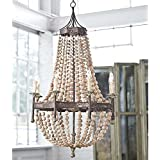 "Iron Frame & Wooden Rustic Scalloped Wood Bead Regina Chandelier Lamp 8 Lights H50"" X W32"" Large Ceiling light Fixture Pendant"