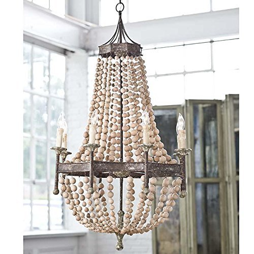 Iron Frame & Wooden Rustic Scalloped Wood Bead Regina Chandelier Lamp 8 Lights H50″ X W32″ Large Ceiling light Fixture Pendant For Sale