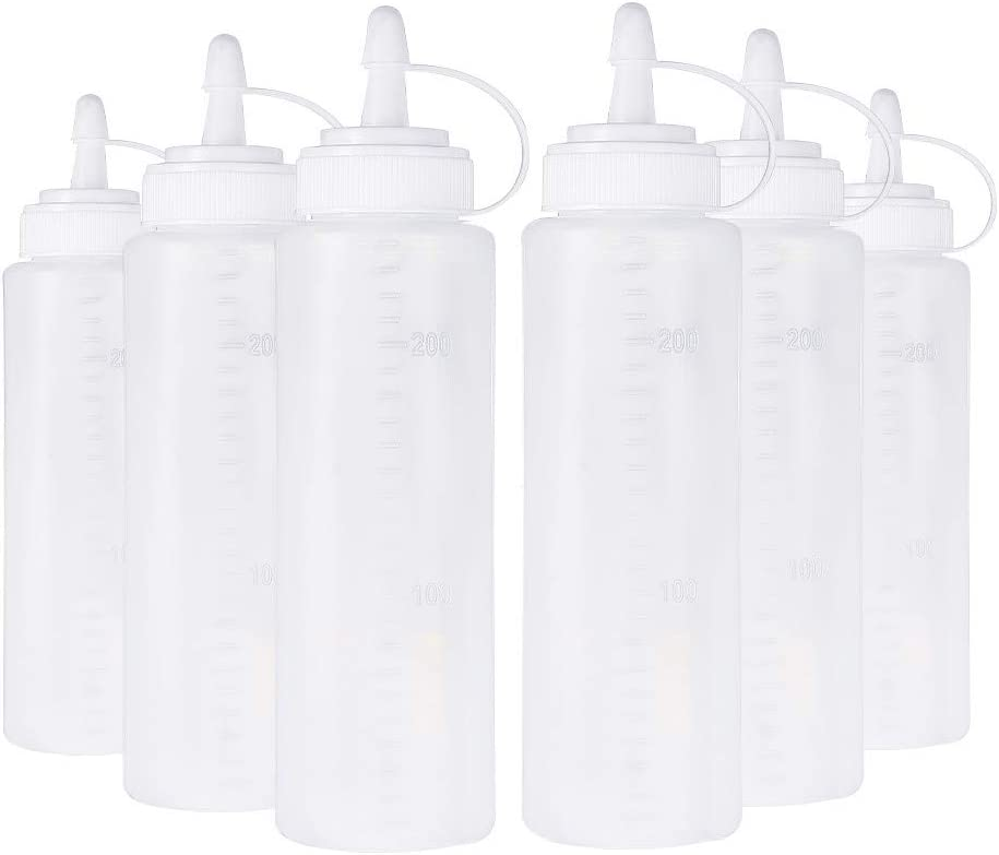 BENECREAT 6 Pack 200ml Botella de Plástica Exprimible Botella de Dispensador de Condimento con Tapas Giratorias y Medidas Discretas