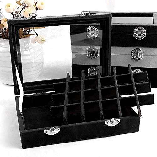 Bazzano Velvet Glass Jewelry Ring Display Organizer Holder Earring Storage Box Well ()