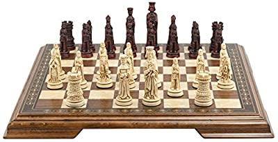 Mini Medieval Chess Set - Handmade Ivory and Burgundy - 3 Inches