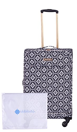 Jenni Chan Adra 2-Piece Set 24'' Upright Spinner +311 Bag, Black/White by Jenni Chan