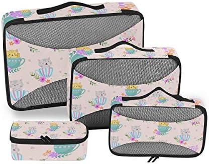 猫コーヒーカップ子猫荷物パッキングキューブオーガナイザートイレタリーランドリーストレージバッグポーチパックキューブ4さまざまなサイズセットトラベルキッズレディース
