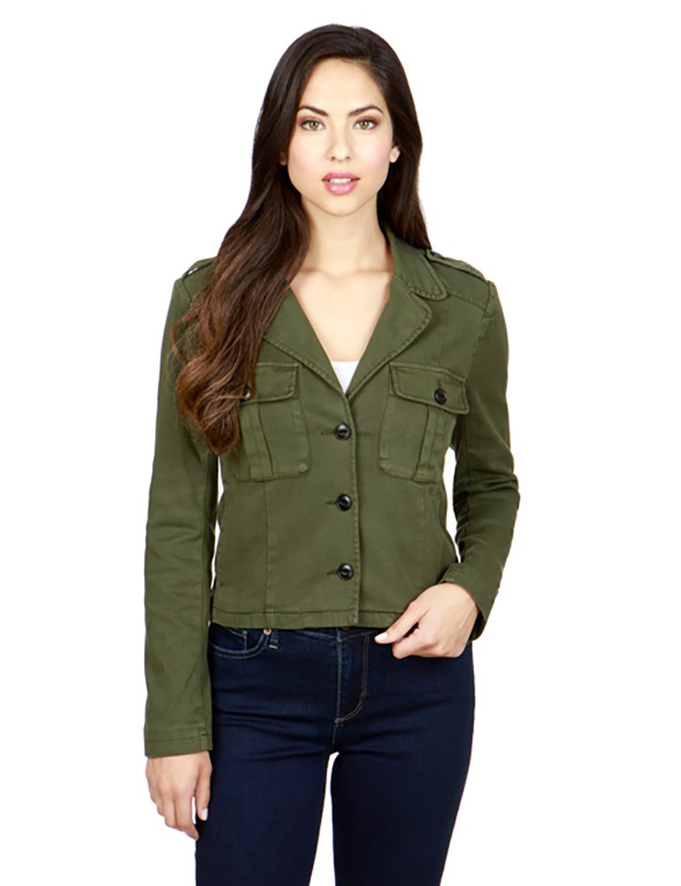 Lucky Brand Women's Cropped Military Jacket (Large, Military Olive)