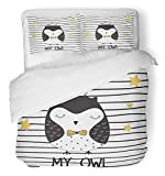 Emvency 3 Piece Duvet Cover Set Breathable Brushed Microfiber Fabric Star Cute Owl Girl Princess Adorable Animal Baby Beautiful Bird Cartoon Bedding Set with 2 Pillow Covers Twin Size