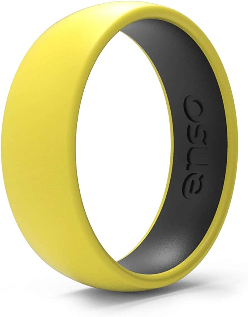 Hypoallergenic Unisex Stackable Wedding Band 2.16mm Thick Enso Rings Bevel Thin Silicone Wedding Ring Comfortable Minimalist Band 5.08mm Wide