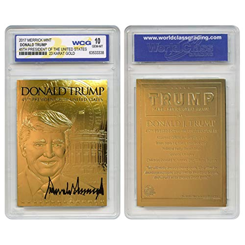 DONALD TRUMP 45th President 23K GOLD 3D SIGNATURE Card - GRADED GEM MINT 10 ()