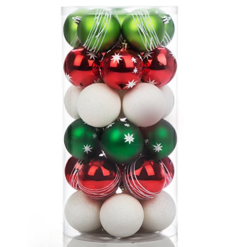 iPEGTOP Shatterproof Christmas Tree Decorations Ball Ornaments, Traditional Crafting Holiday Wedding Party Baubles Red Green White, 70mm/2.8, 30 Set