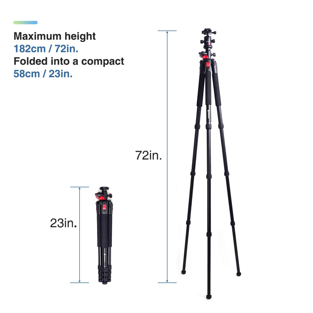 Moman Camera Tripod with Telescopic Horizontal Column Arm and Ball Head for Macro Shoot/Overhead Photography/Travel / DSLR Camera Video Camcorder by Moman (Image #4)