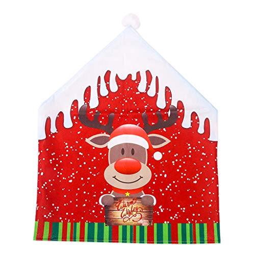 Fan-Ling 1PC Christmas Decorationflannel Big Hat Chair Cover Stool Set,Christmas Music Swing Party Electric Hat Tree Creative Decoration Supplies,Kitchen Table Chair Covers (C) (Velvet Tub Crushed Chair)