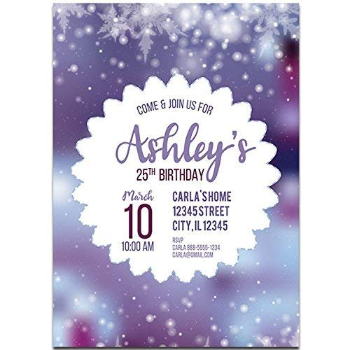 Image Unavailable Not Available For Color Purple Snowy Blurred Birthday Party Invitations