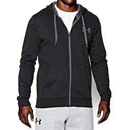 Under Armour Men\'s Rival Fitted Full Zip, Black/Black, Large