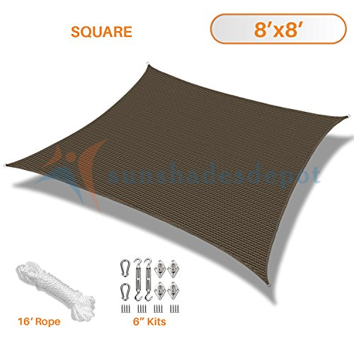 Sunshades Depot 8' x 8' Brown Sun Shade Sail with 6 Inch Hardware Kit 180 GSM Square UV Block Durable Fabric Outdoor Canopy - Custom Size Available ()