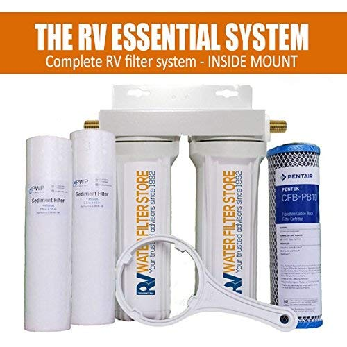 Essential RV Water Filter System – 1 2 Pipe Fittings not Hose Fittings – Premium RV Water Filtration System with Cyst Removal. Includes Bracket for mounting Inside RV.