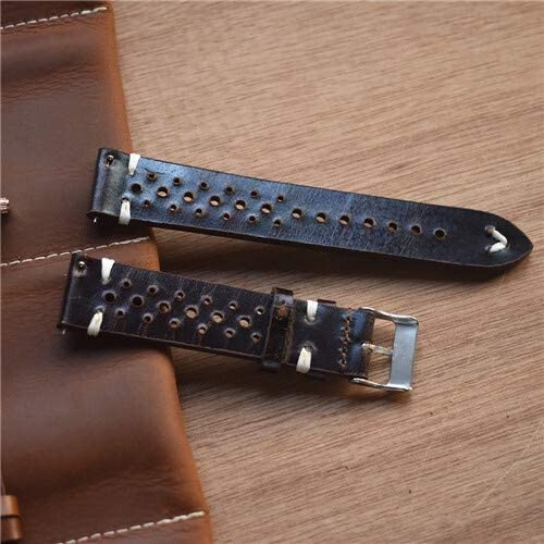 RTYW 手作りのヴィンテージレザーストラップ時計バンド腕時計アクセサリーブレスレット18mm20mm 22ミリメートルの暗い赤白/黒のラインの腕時計バンド (Band Color : 2 Black line, Band Width : 22mm)