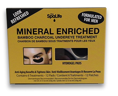 Spa Life Spa Life Men's Mineral Enriched Bamboo and Charcoal Undereye Treatment (Pack of 2, 6 Treatments each)