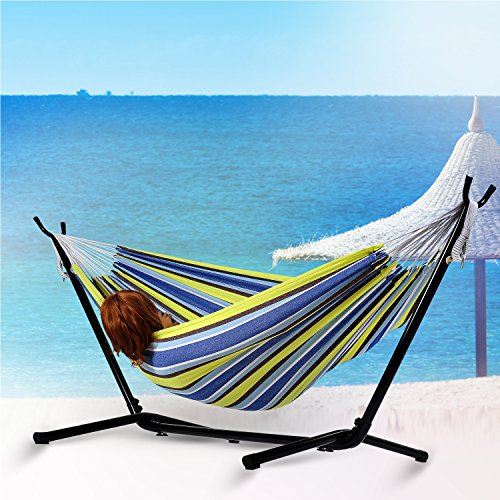Afranker Double Hammock with Space-Saving Steel Stand Oasis