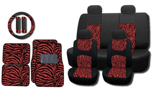 New And Exclusive Mesh Animal Print Interior Set Red Zebra