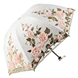 Honeystore Lace Parasol Decoration Bridal Shower Vintage Umbrellas for Wedding 3 Fold Beige