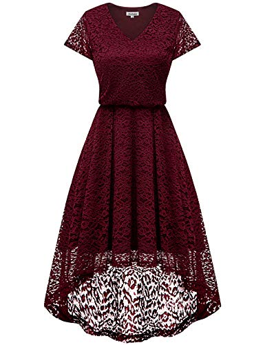 Bbonlinedress Floral Vestido Noche Elegante Hi Encaje Mujer Burdeos Fiesta Honor para Vestido de Dama Vestido Encaje de lo Coctel de Mujeres rq4wcSIr