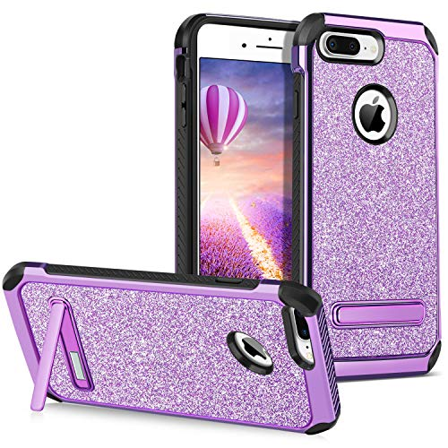 iPhone 7 Plus Case Kickstand GUAGUA Glitter Bling Women Girl Slim Dual Layer Hybrid Hard PC Cover Sparkly PU Leather Anti-Scratch Shockproof Protective Phone Case Compatible with iPhone 7 Plus,Purple