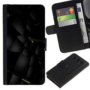 SAMSUNG Galaxy S3 III / i9300 / i747 Modelo colorido cuero carpeta tirón caso cubierta piel Holster Funda protección - Polygon Green Mysterious 3D Art