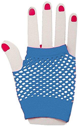 Glam Rock Costumes For Womens (Blue Glam Rock Fishnet Fingerless Costume Half Gloves)